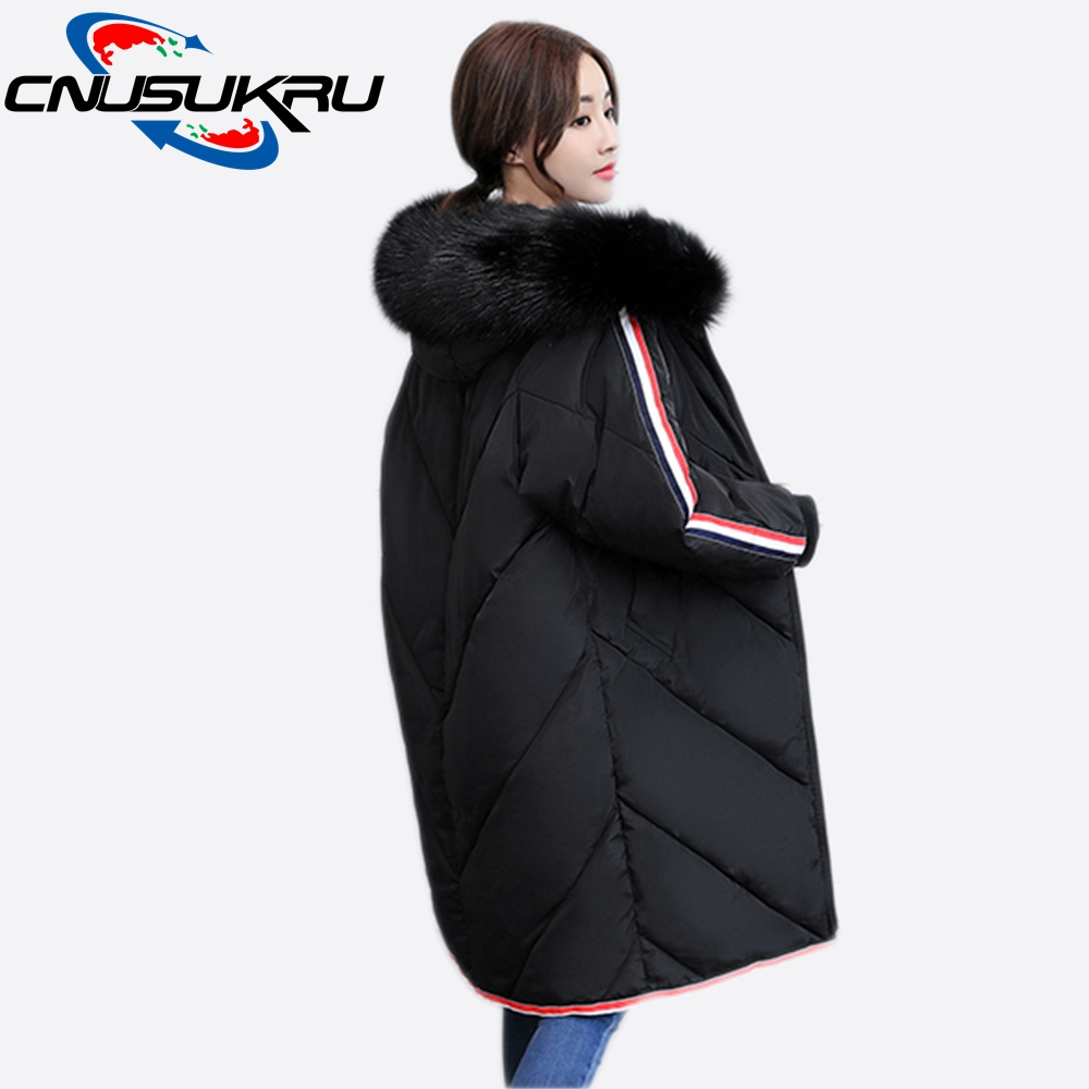 New Real Fashion Casual Fur Collar Coat Large Size Winter Jacket Womens 2017 Long Padded-cotton Hooded Parka Female Outwear new winter jacket women fashion down padded jackets female long parka large fur collar hooded women cotton coat plus size c1241