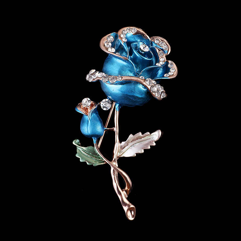 LNRRABC Fashion Women  Luxury Red/Blue Rhinestones Rose Flower Brooch Pin Wedding Bridal Dress Accessories Jewelry broches mujer