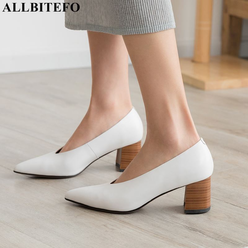 ALLBITEFO full genuine leather thick heel women shoes high quality women high heel shoes office ladies shoes women heelsALLBITEFO full genuine leather thick heel women shoes high quality women high heel shoes office ladies shoes women heels
