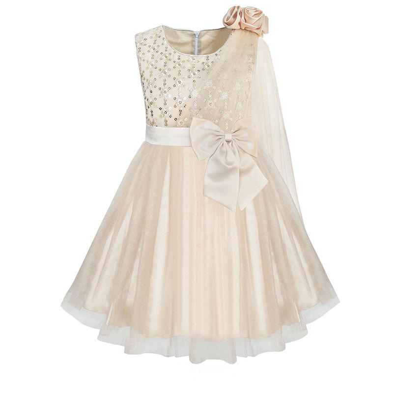Sunny Fashion Flower Girls Dress Beige Sparkling Sequin Wedding Princess 2017 Summer Party Dresses Girl Clothes Size 6-12 купить