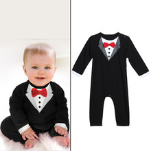 Toddler Handsome Baby Pompers Cool Boy Clothes Baby Long Sleeve Suit Infant Jumpsuit GentlemenBlack Bowknot Rompers Formal Suit(China)