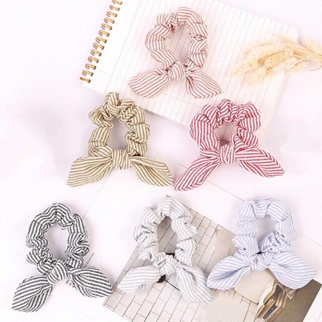 1 PC Phụ Nữ Mùa Hè Sọc Hairbands Scrunchie Tóc Rope Tie Ribbons Tóc Ponytail Maker Braider Headbands Phụ Kiện