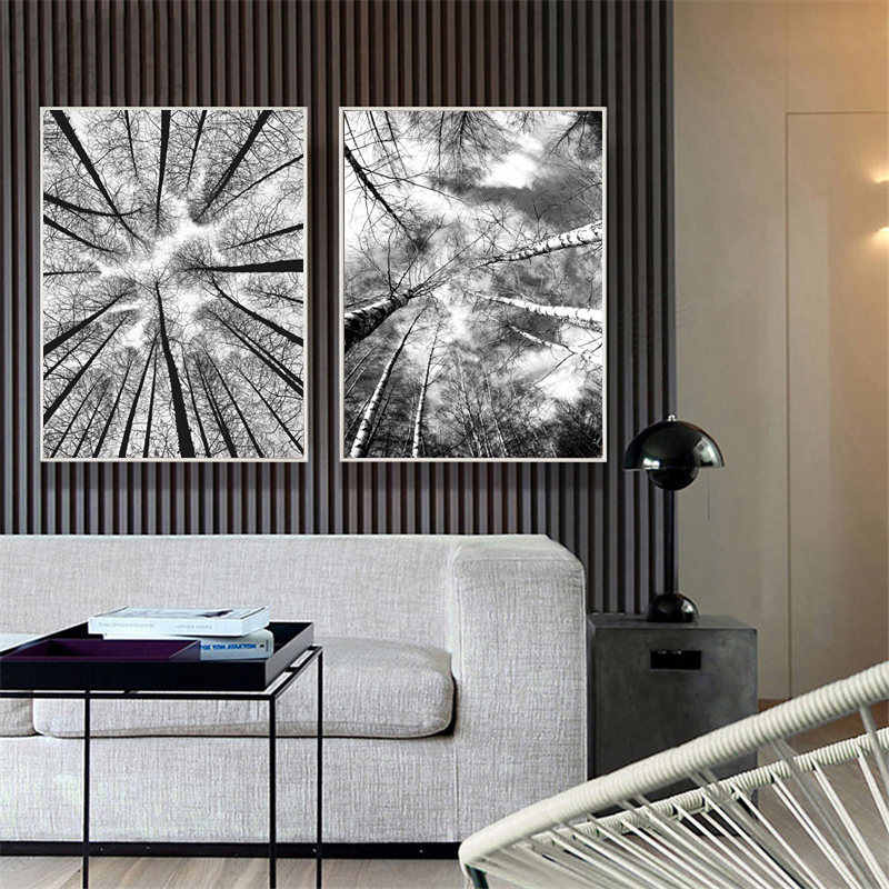 Black and White Forest Tree Picture Home Decor Nordic Canvas Painting Wall Art Prints and Posters Decor Pating for Living Room