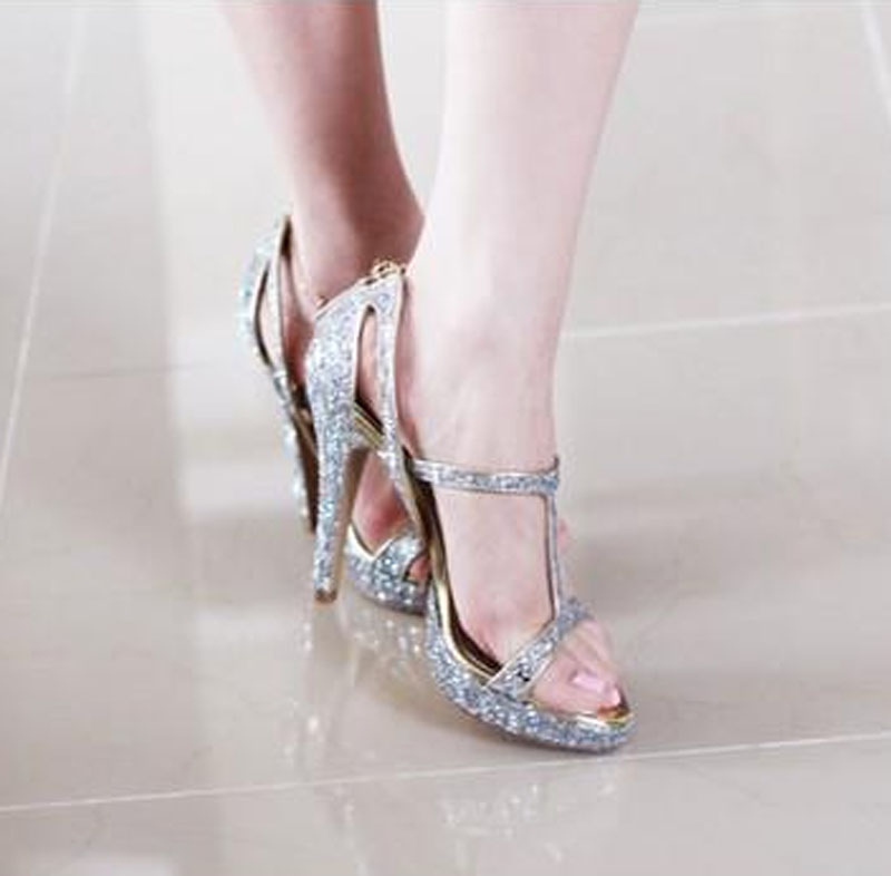 Sexy Ladies Bling Sequins Strappy Acrossed Sandals Women Cover High Heels  Bridal Sandals Summer Glitter Wedding Dress Shoes-in High Heels from Shoes  on ... fbb64a807add