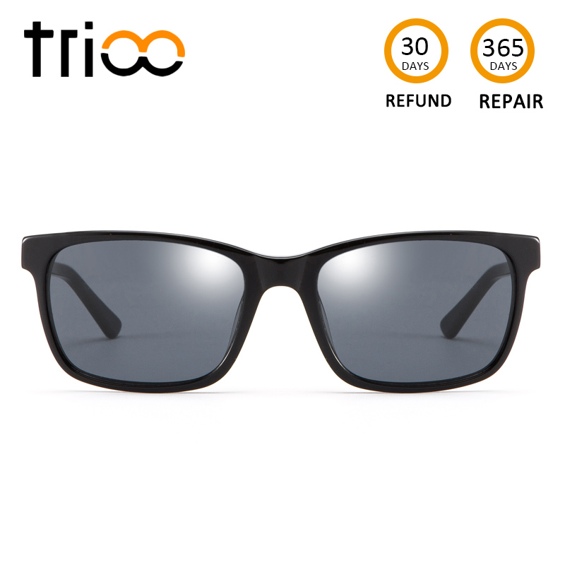 TRIOO Mens Myopia Glasses for driving Diopter Black Lens Eyewear Graduated Astigmatic Eye Glasses Prescription Sunglasses