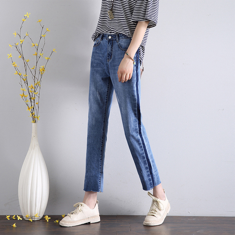 HEE GRAND Calf-Length Old Jeans 2019 Women Spring Pants Plus Size 32 Summer Loose Denim Women Jeans High Waist Trousers WKN623