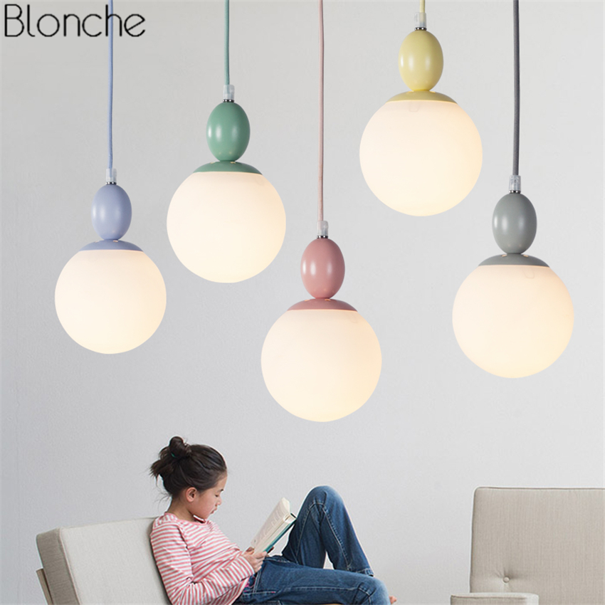 Nordic Glass Ball Pendant Lights Colorful Macaron Hanglamp Led Hanging Lamp for Living Room Kitchen Indoor Light Fixtures Decor