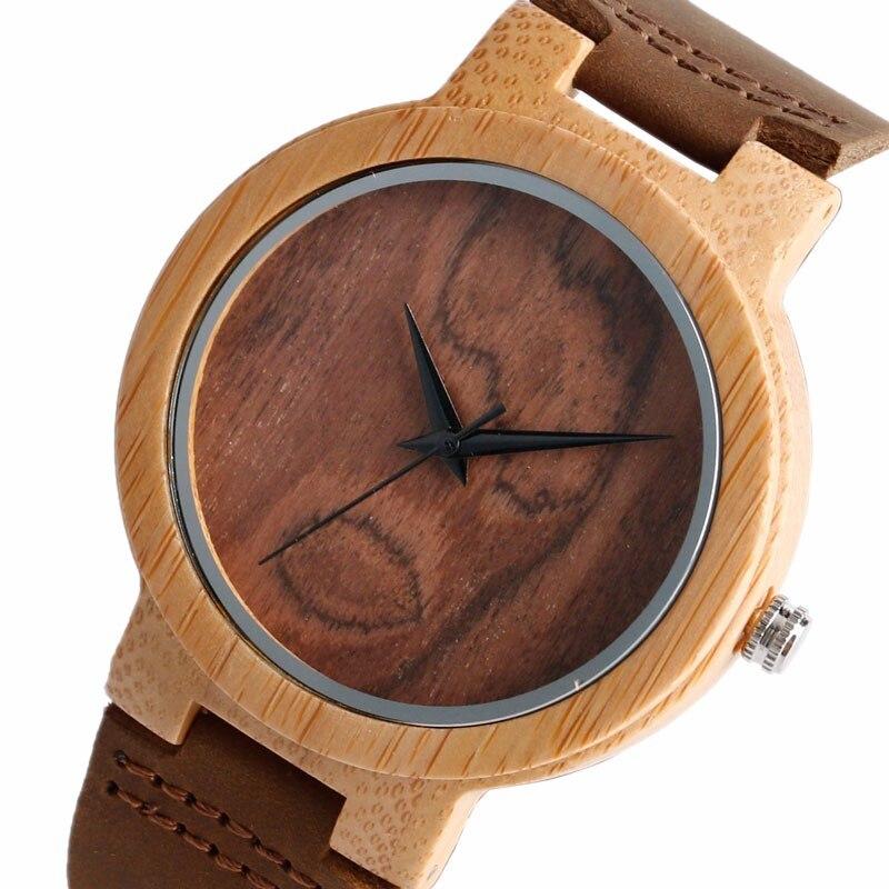 New Arrival Originala Simple Wood Dial Brown curea din piele - Ceasuri bărbați