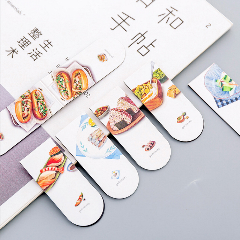 2 Pcs/Lot Delicious Food Magnetic Force Bookmark Material Escolar Magnetic Bookmarks For Book Stationery