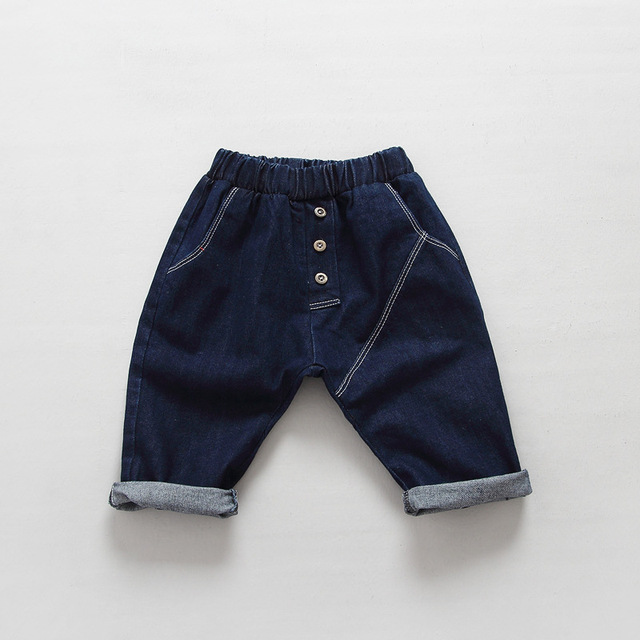 Мальчики девочки одежда для новорожденных мальчиков джинсы хлопок сплошной синий брюки ребенка todder дети брюки детские шаровары осень одежда