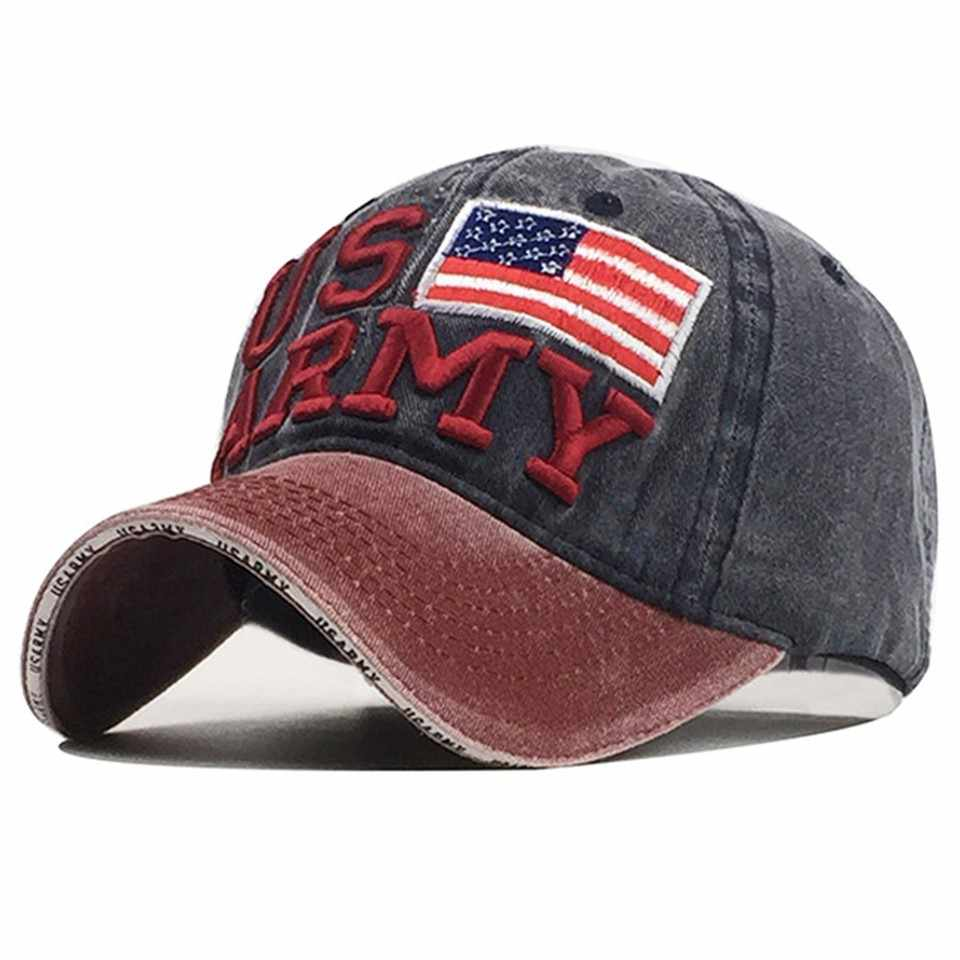 [مستعرة] 2019 رخيصة البالية غسلها القطن الأمريكية العلم الجيش الأمريكي نمط قبعة الرجال النساء قبعة بيسبول