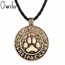 Chandler Bear Print Amulet Pendant Necklace The Norse Footprint Runes Round Charm Nordic Talisman Colier For Mens Slavic Jewelry
