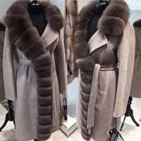 豪華な特大リアル毛皮の襟のカシミヤコート 90% ウールブレンド冬リアルファーコートの女性の服リアルファージャケット