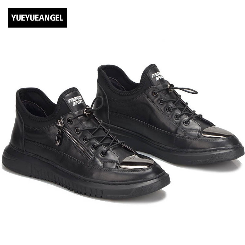 2017 New Fashion Hot Sale Brand Genuine Leather Cow Mens Lace Up Male Casual Shoes Breathable Zipper Hidden Heel Plus Size Black 2017 england style men genuine leather cow new fashion lace up breathable casual shoes male vintage match color black coffee