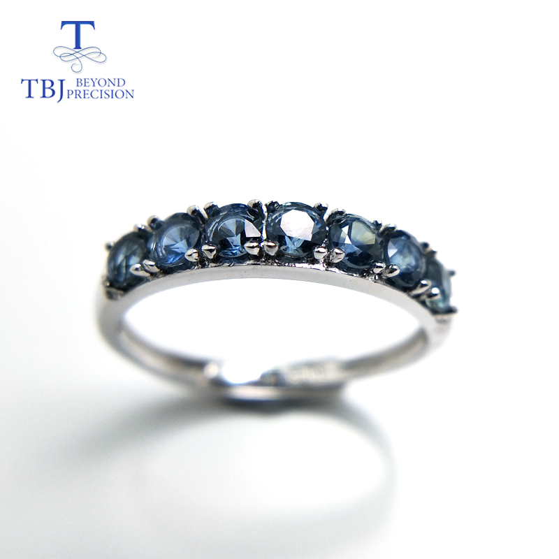 TBJ Elegant adjustable ring with 100 natural blue sapphire gemstone in 925 sterling silver gemstone ring