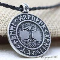 10pcs Norse Vikings Runes Amulet Pendant Necklace The Tree of Life Runes PENDANT Necklace Nordic Talisman