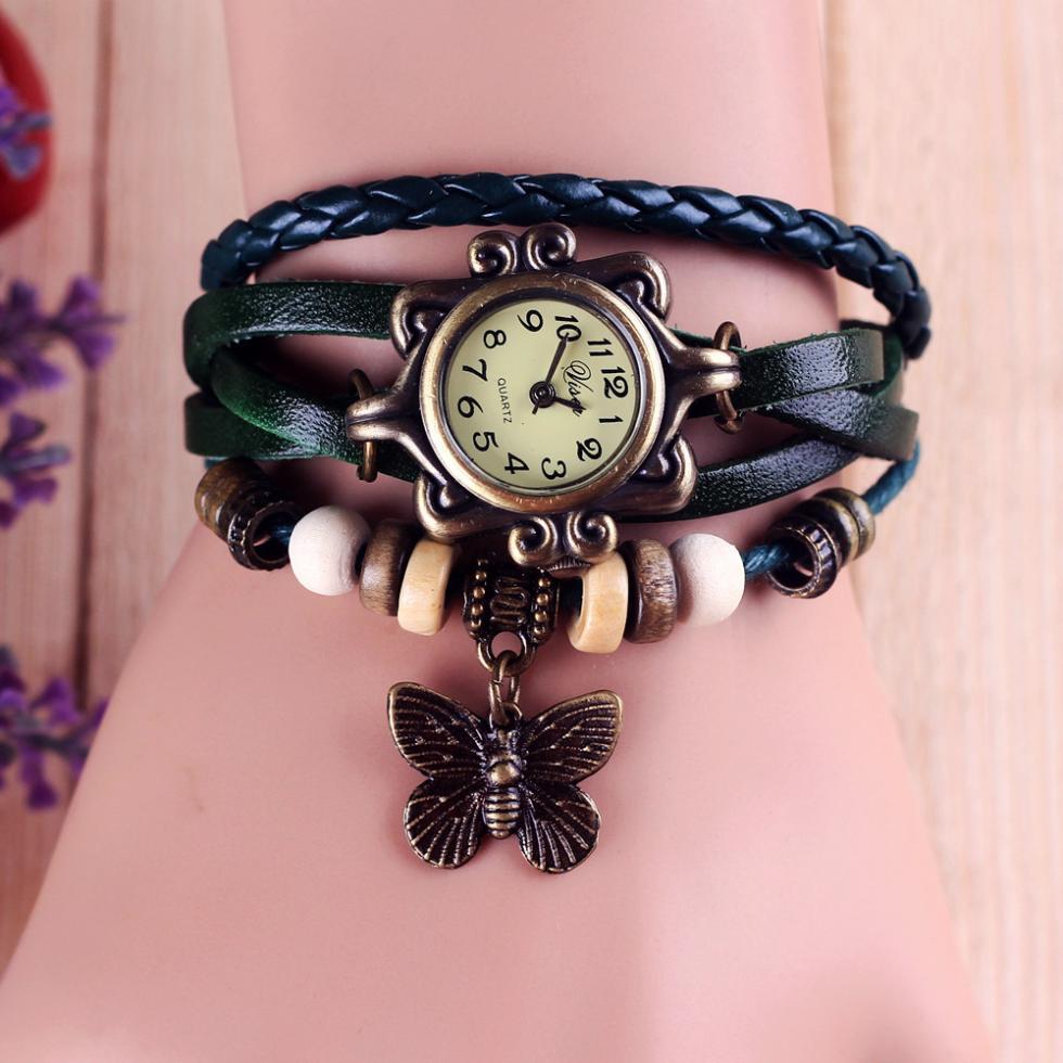Fashion Leather watch - Bracelet Butterfly Hanging Ornament Wrist Watch 3