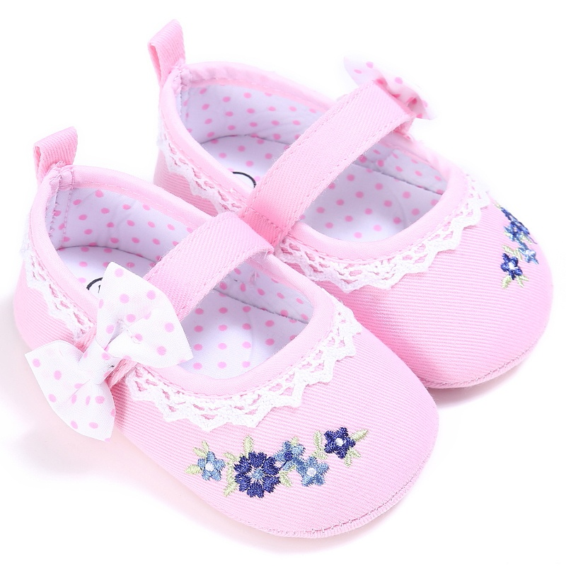 2017 Cute Girls Toddler Infant Spring Bowknot Embroidery Chic Princess Style Baby Shoes Anti-slip Crib Canvas Shoes Prewalker