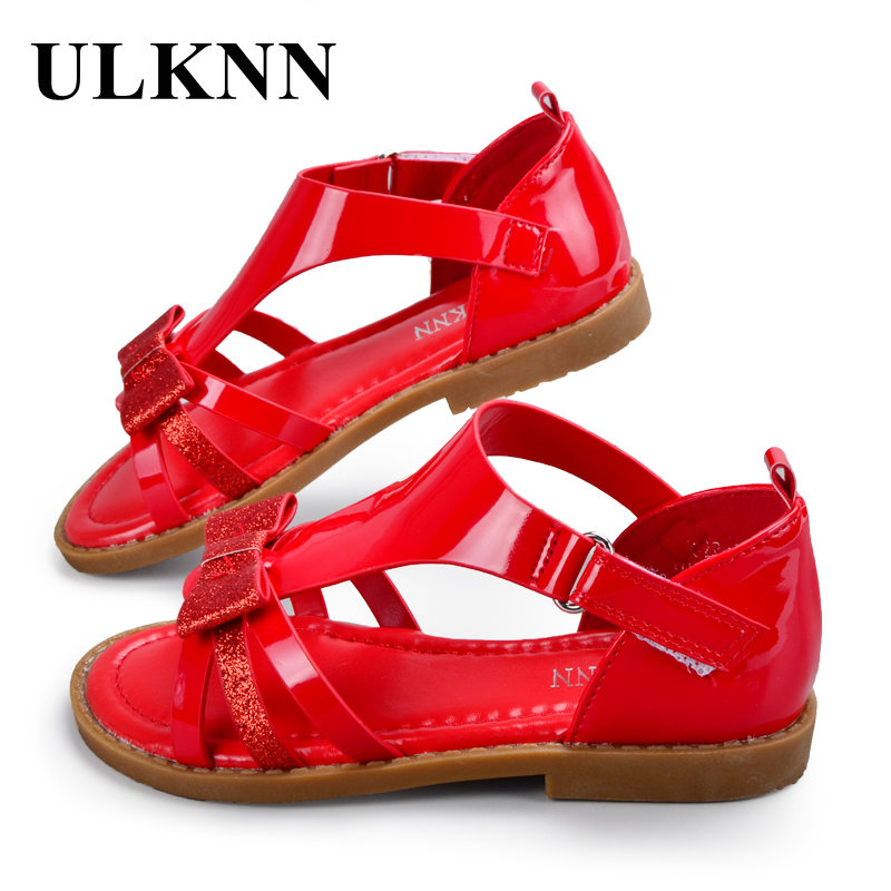 ULKNN Girls Sandals Red White Pink Heart Shaped Pink Cut-outs Sandals Flat Open-toe School Shoes Breathable Kids Sandals
