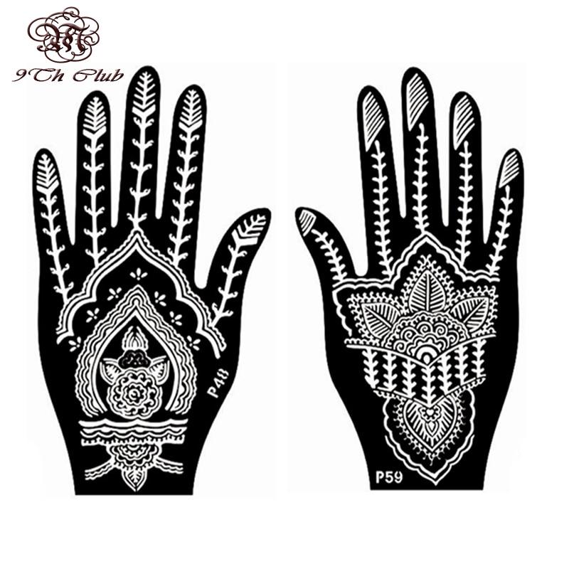 2 Pair Indian Henna Tattoo Stencil, Blomst Hånd Mehndi Henna Glitter - Tatovering og kroppskunst - Bilde 2
