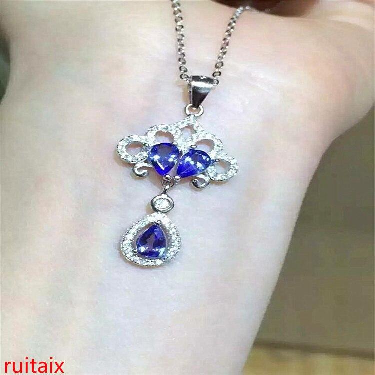 KJJEAXCMY boutique bijoux 925 en argent sterling incrusté de pierre naturelle tanzanite collier ensemble chaîne bijoux gemme. aeret QWAS