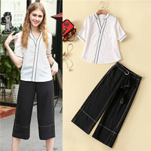 2 piece set women pant and top summer pajama style patchwork lace white v-neck blouses and black wide leg cropped pants suit set
