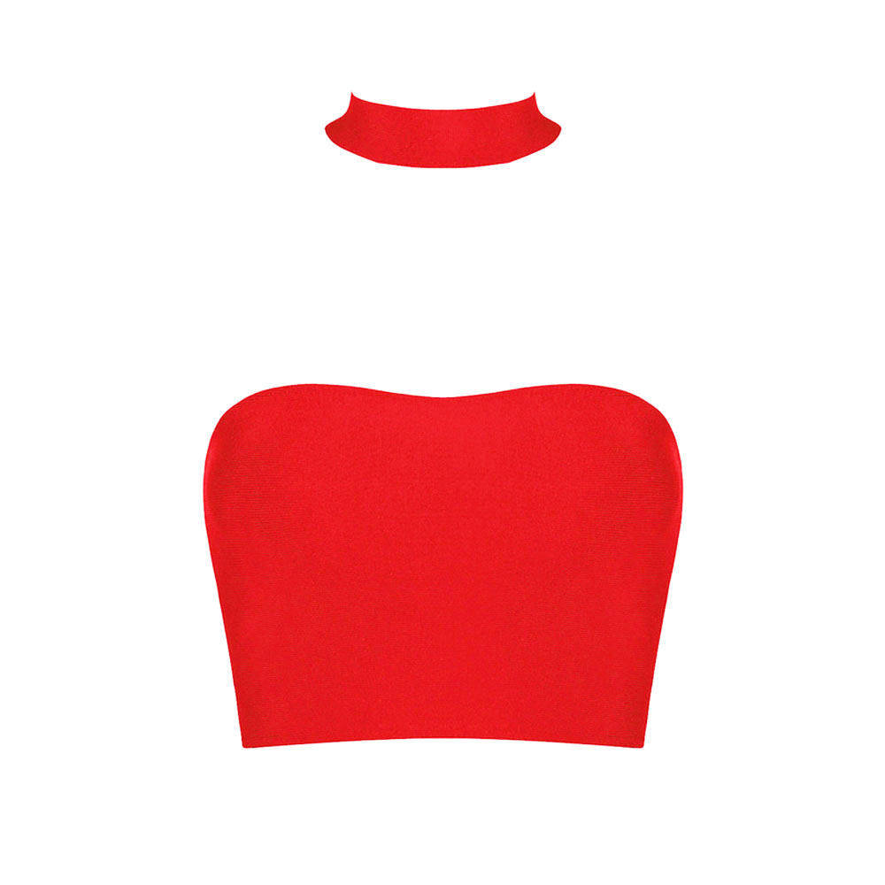 2018 newestc celebrity club party red halter bandage fashion sexy rayon crop top