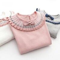 주름 레이스 디자인 소녀 긴 소매 티셔츠 리브 여자 아기 의류 탑 소녀 Bowknot T 셔츠