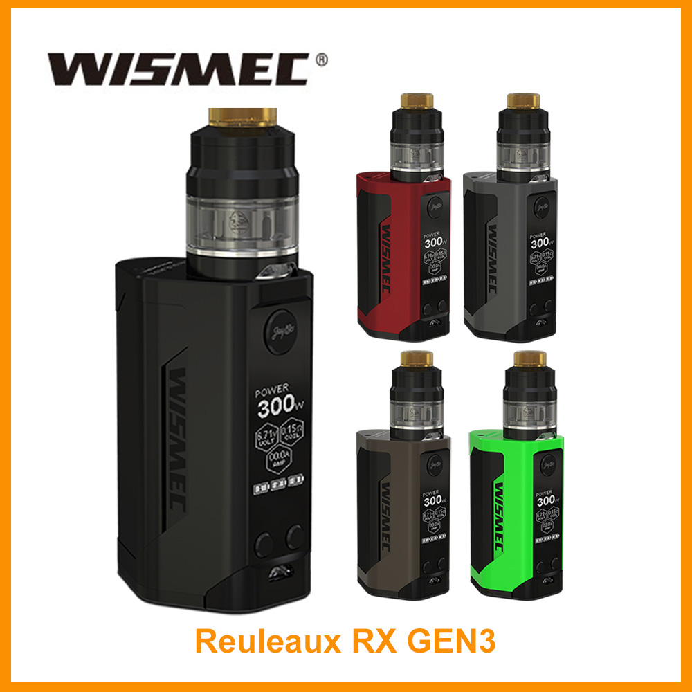 USA Warehouse Original Wismec Reuleaux RX GEN3 Mod And 2ml GNOME Atomizer 300W RXGEN3 BOX MOD Vape Kit WM Coil E-Cigarette