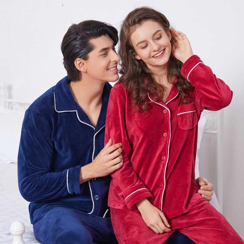 Couple Sleepwear Pijamas Mujer Winter Pyjamas Warm Pajamas Set Women Home Wear Plush Pajamas Flannel Christmas Pajamas