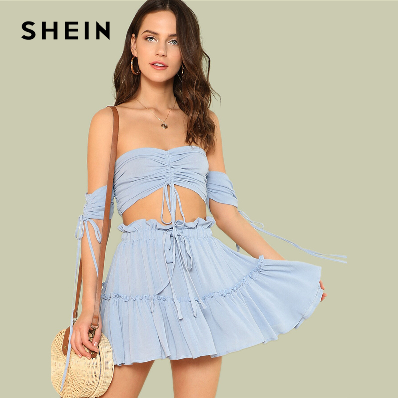 88c43573e SHEIN Drawstring Crop Bardot Top With Tiered Skirt Set Sexy Solid Frill  Sleeveless 2 Piece Set