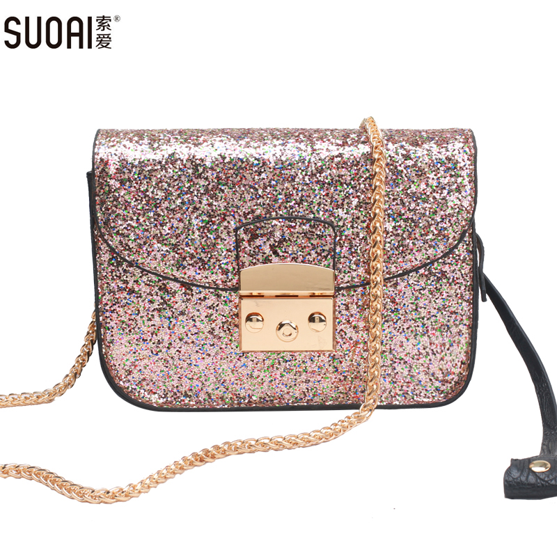 SUOAI Messenger Bag For Female 2017 New Summer Style Shining Lock Flap Womens Party Chain Strap Shoulder Bags