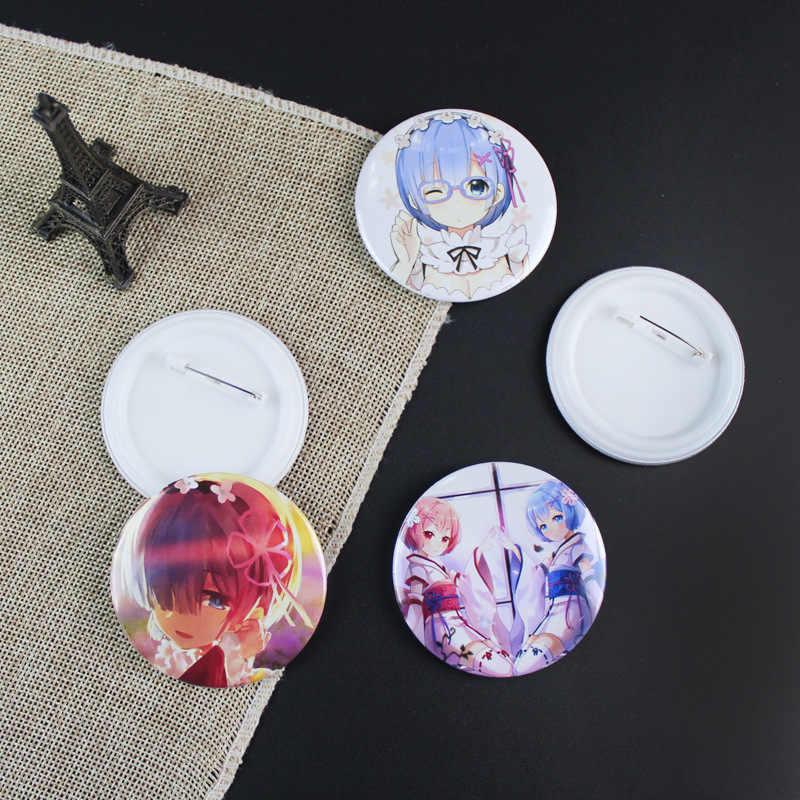 Hot Anime RE Zero Spille Distintivo di Modo Rotondo di Metallo RE ZERO di Partenza La Vita in Un Altro Mondo Spilla Spille Gioielli di Laurea regalo