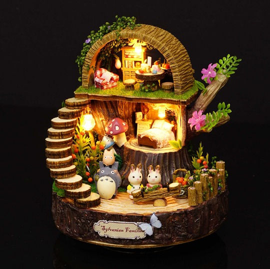 Forest Wooden Totoro DIY Doll House Home Decoration Handmade Cartoon Kit Miniature Home Assembling Toys Dollhouse Gift Toy