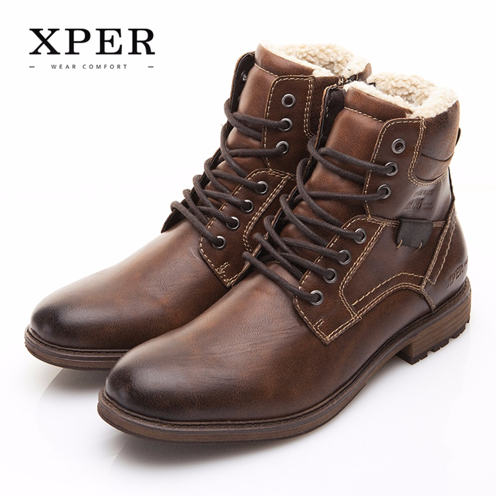 Men Shoes XPER Brand Autumn Winter Motorcycle Men Boots High-Cut Lace-up Warm Men Casual Shoes Fashion #XHY12509BR(China)