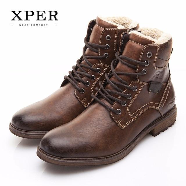 גברים נעלי XPER מותג סתיו חורף אופנוע גברים מגפיים גבוה לחתוך שרוכים חם גברים נעליים יומיומיות אופנה # XHY12509BR