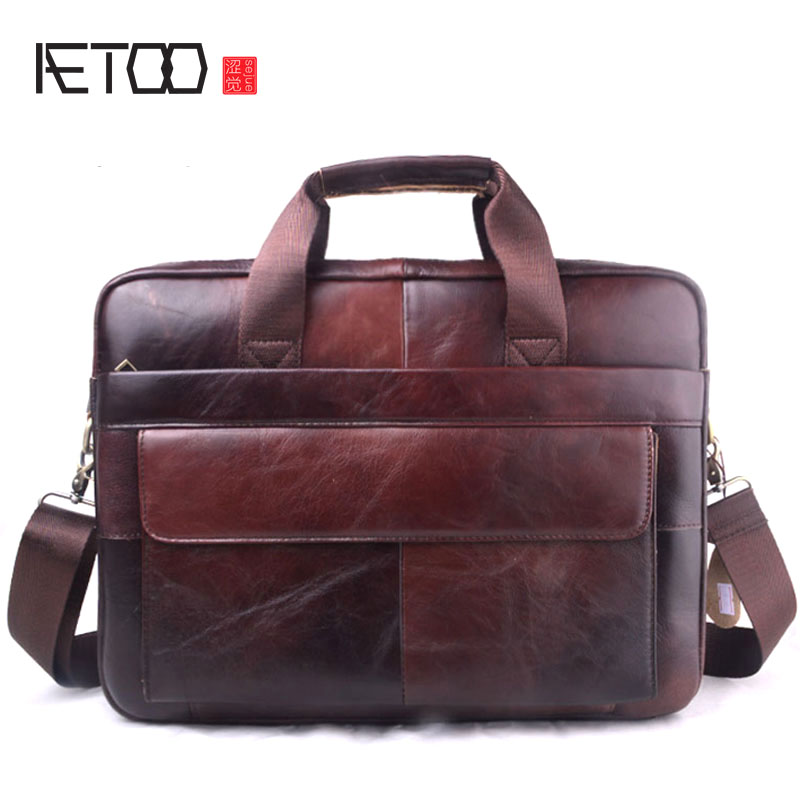 Men Business Briefcase Genuine Leather Computer Bag High Capacity Handbag 2018 New Zipper & Hasp Bags