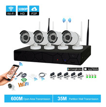 Фотография Plug and Play 4CH 1080P HD Wireless NVR Kit P2P 1080P Indoor Outdoor IR Night Vision Security 2.0MP IP Camera WIFI CCTV System