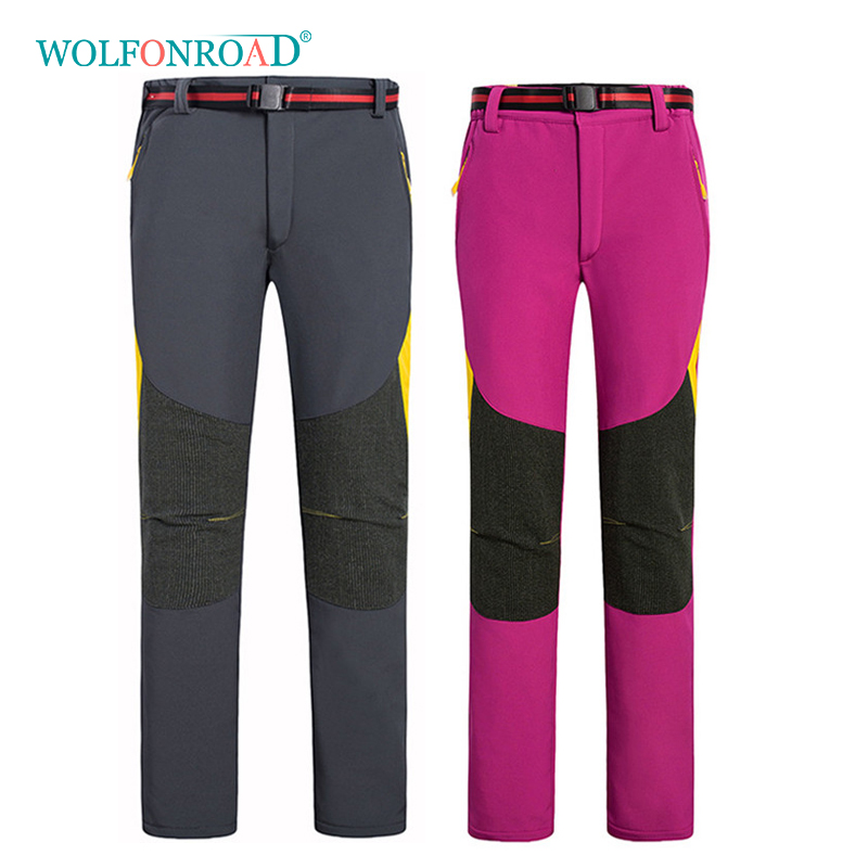 WOLFONROAD Outdoor Winter Fleece Thermal Softshell Pants Women Men Hiking Camping Waterproof Mountain Fishing Pants L