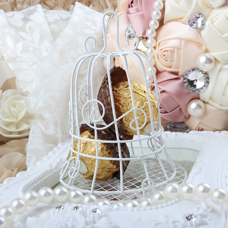 European romantic Bridal Wedding and party creative personality iron white candy box iron bell birdcage gift box candy boxes (2)