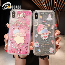Cute cartoon Boy girl Glitter Dynamic Liquid Quicksand Case For iphone 6 6s 7 8 plus Soft silicone case for X XS MAX XR capa