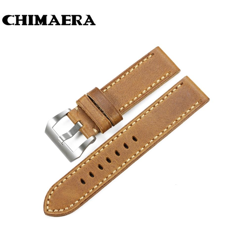 CHIMAERA Brown Assolutamente Italy Leather Vintage Watch Band Bracelet Wristwatches Belt Accessor 20mmFor Panerai Watch Strap