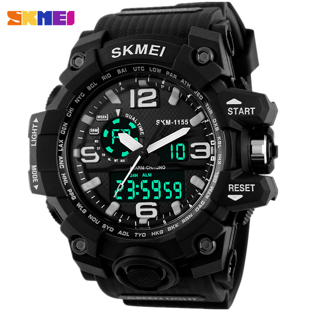 New skmei brand men 39 s chronograph sports military watches men analog led digital watch pu strap for Watches digital