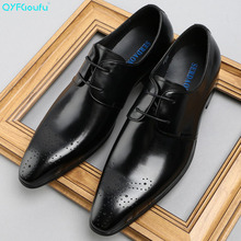 QYFCIOUFU New Fashion Brand Dress Shoes Genuine Leather Suits Men Shoes Classical Gents Luxury Business Formal Pointed Toe Shoes