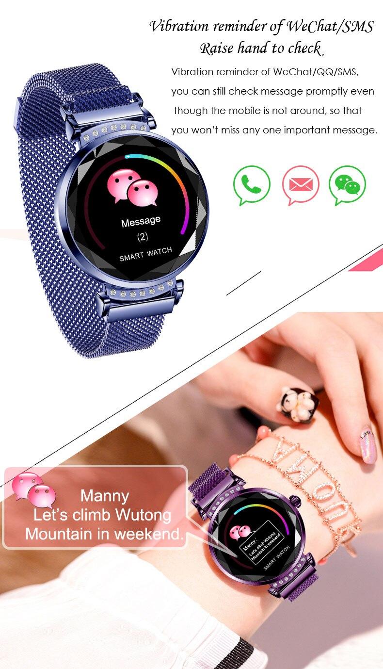 696 H2 Women Smart Watch Heart Rate Blood Pressure Sleep Monitor Smart bracelet Waterproof Fitness Tracker smart band in Smart Wristbands from Consumer Electronics