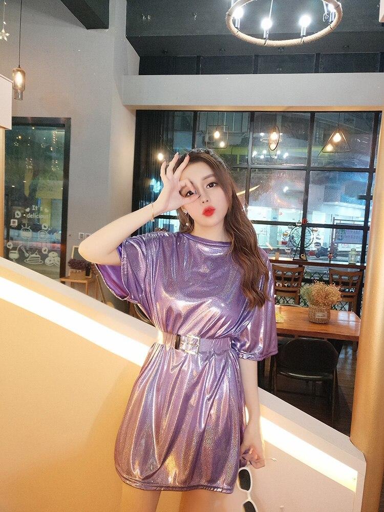 Woman Summer Sparkling Fashion Hologram Dress Student A-line Mini Casual Dresses  Laser Symphony Chic Lolita Sweet Cute Kawayi d9aa7e271779