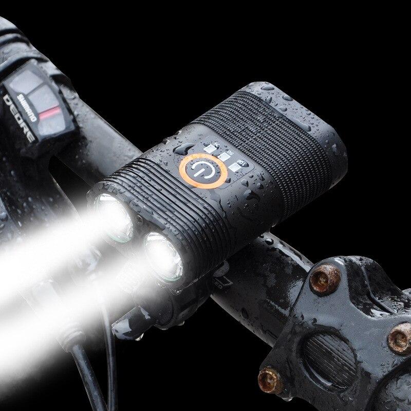 USB ciclismo faro 2x XM-L T6 LED luz para bicicleta batería recargable 18650 con Xlite100 luz trasera