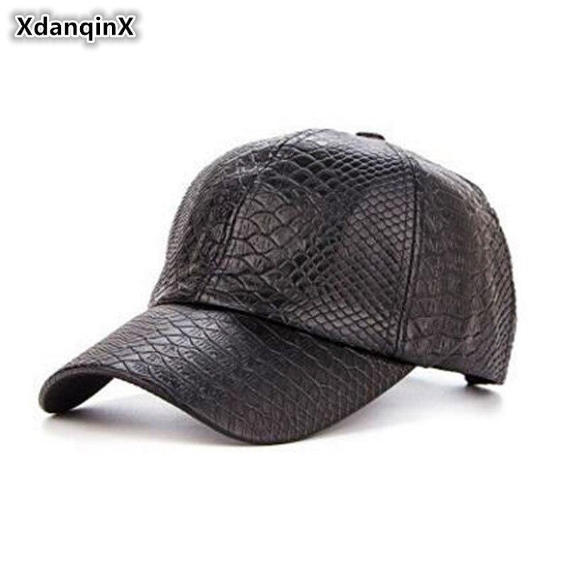 XdanqinX Men's Hats Classic Crocodile Pattern PU   Baseball     Caps   Spring Autumn Adjust Size Visor   Cap   Snapback Male Bone Dad's hat