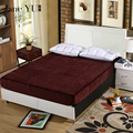 JaneYU Velvet Warm Flannel Fleece 30cm Hight Fitted Sheet Bed Solid Color flannel Mattress Protector Cover