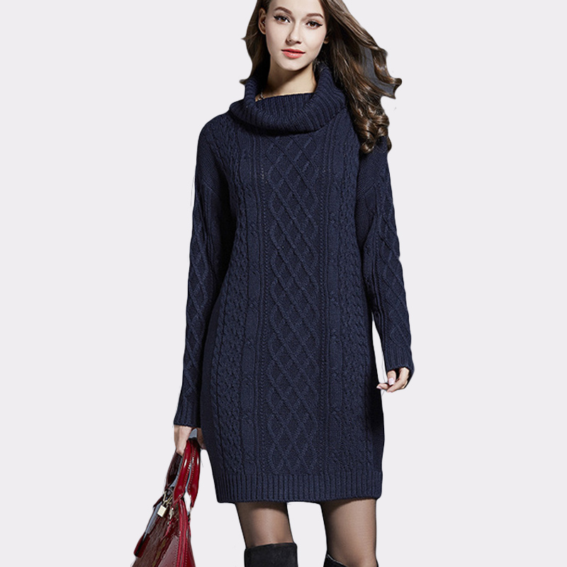 Turtleneck Women Fashion Knitted Cotton Solid Color Sweater Dresses Plus Size Casual Autumn Winter Knitted Dress Vestidos